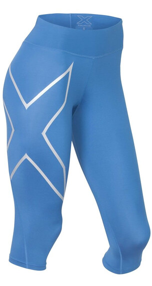 2XU W's Mid-Rise Compression 3/4 Tights Pacific Blue/Silver logo